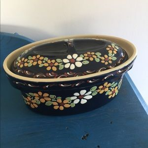 Other - Flower HANDMADE POTTERY COVERED POT DISH SIGNED